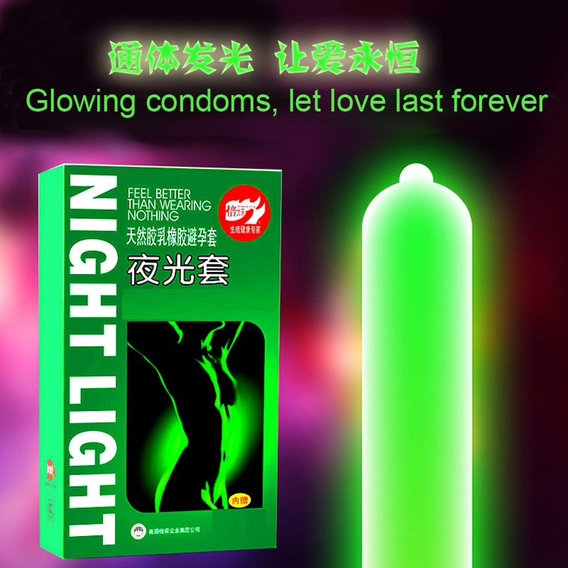 3pcs Luminous Condoms + 4pcs Ultra Thin Fluorescence Special Night Light Glowing Condom Sex Toys Penis Extender