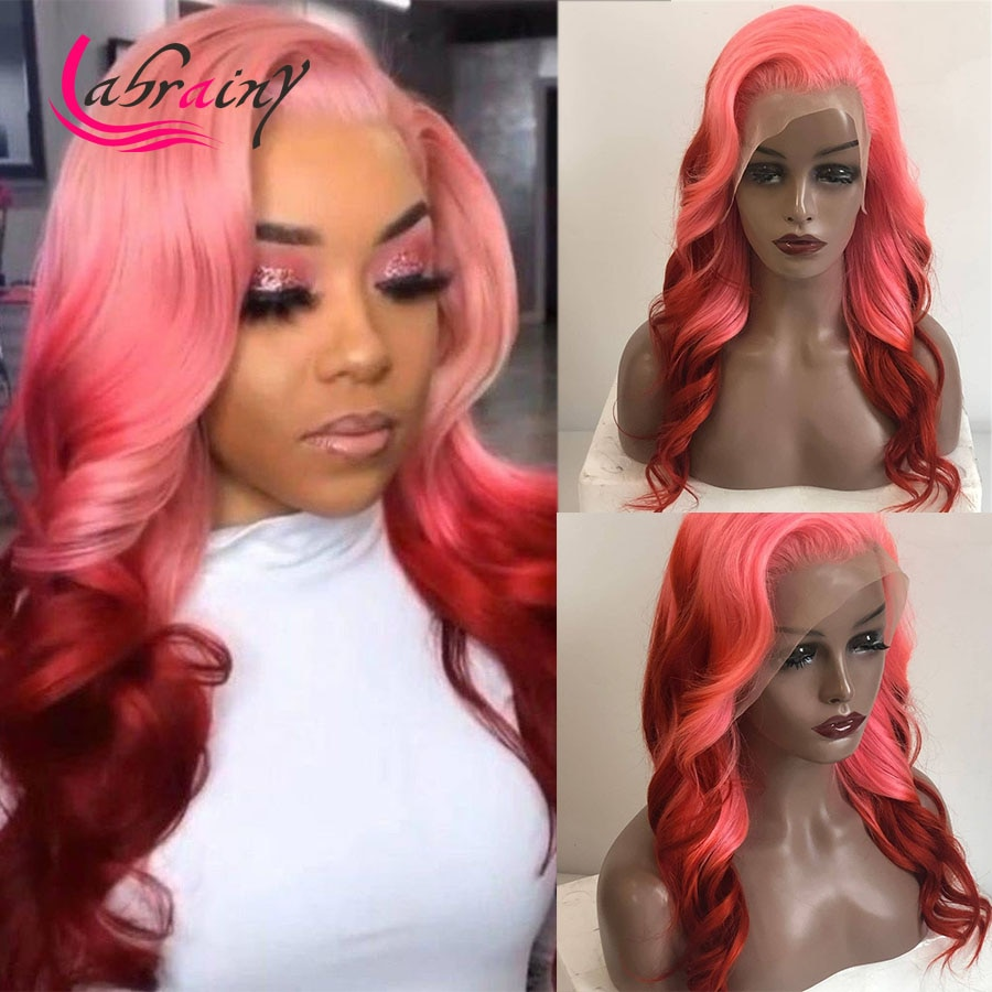 13x5 Ombre розовые HD прозрачные фронтальные парики из человеческих волос с эффектом омбре 613 подчеркивающие тело волнистые бордовые полноцветн...