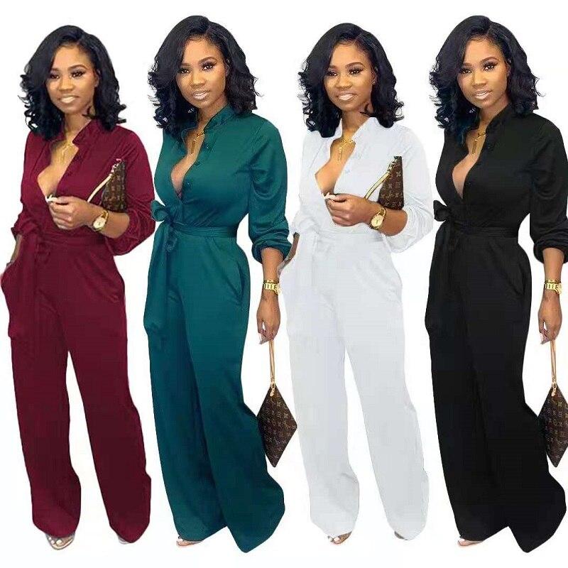 Женские пикантные однотонные комбинезон с длинными рукавами, комбинезоны с поясами высокого качества с эластичной резинкой на талии, штаны...