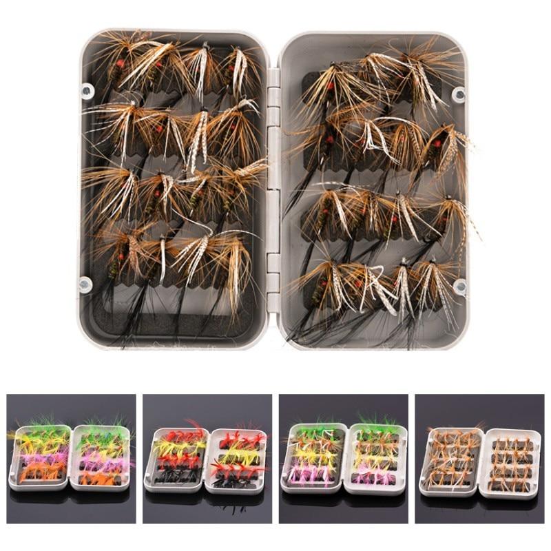 Iscas de pesca moscas mosca truta iscas seco/molhado moscas ninfas gancho iscas de pesca no gelo 1 caixa isca artificial 32 pçs