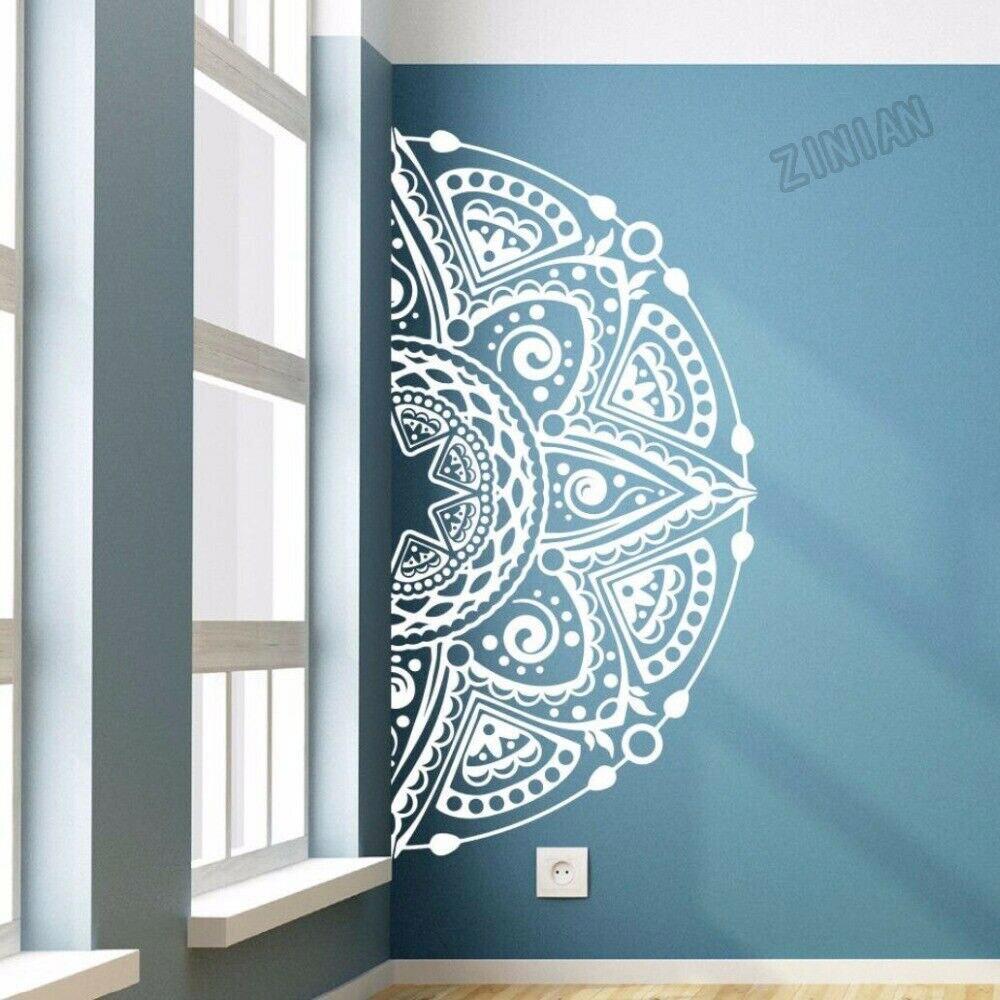 Halb Mandala Blume Wand Abziehbilder Magie Matrix Decor Vinyl Wand Papier Schlafzimmer Große Größe Ornament Marokkanischen Yoga Thema Aufkleber Y201