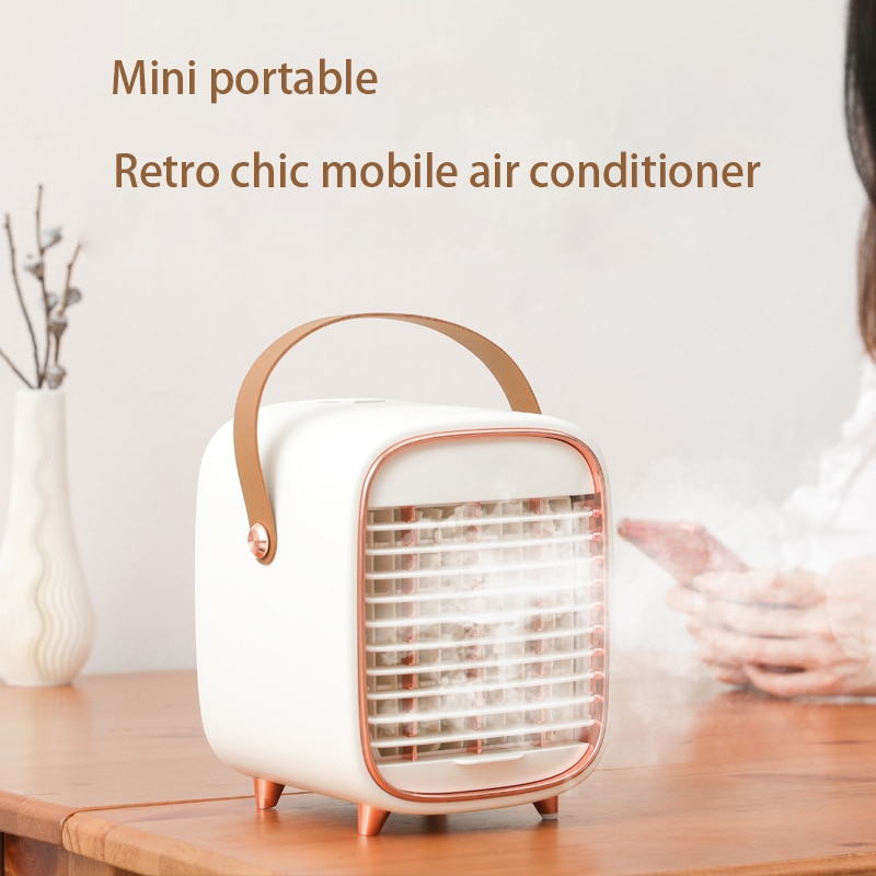 Retro Mini Air Conditioner USB Charging Water Cooled Air Conditioning Fan AC Portable Home Humidifier Air Purifier Air Cooler