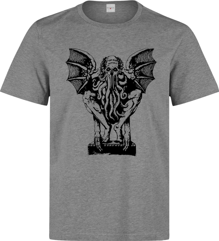 Cthulhu de H.P. A Camiseta gris Lovecraft Eldritch con dibujo de terror para hombre, Camiseta de algodón para hombre, Camiseta de algodón 100%