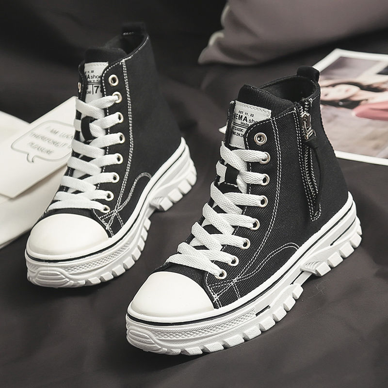 2021 الخريف جديد نمط المرأة حذاء كاجوال منصة أحذية رياضية بولي أحذية أحذية من الجلد امرأة عالية أعلى حذاء أبيض تنيس Feminino A1-204