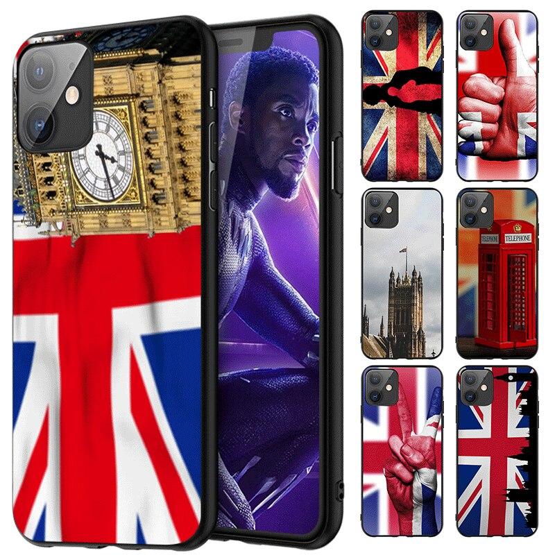 Bonita funda de silicona a la moda para iPhone 11 Pro XS MAX XR 8 7 6 6S Plus X Max 5 5S SE 2020 funda TPU bandera británica