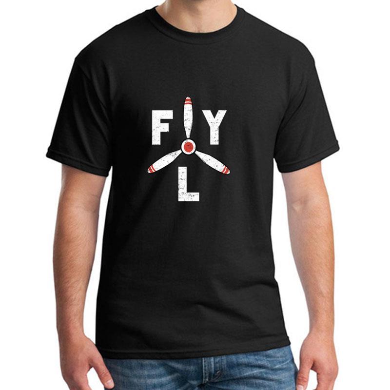 Moda Fly Propeller aeronave aviación camiseta XXXL 4Xl 5XL algodón Humor verano caballeros Camisetas cuello redondo Tee tops