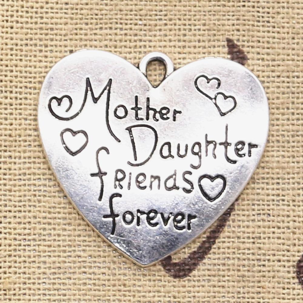 3 piezas de dijes corazón madre hija amigos para siempre 28x30mm colgantes de Color plata antigua haciendo DIY tibetano encontrar joyería