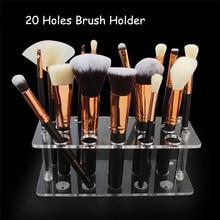20 Holes Acrylic Makeup Brush Drying Rack Brush Holder Practical Dry Brush Artifact Cosmetics Display Stand Beauty Brushes Stand