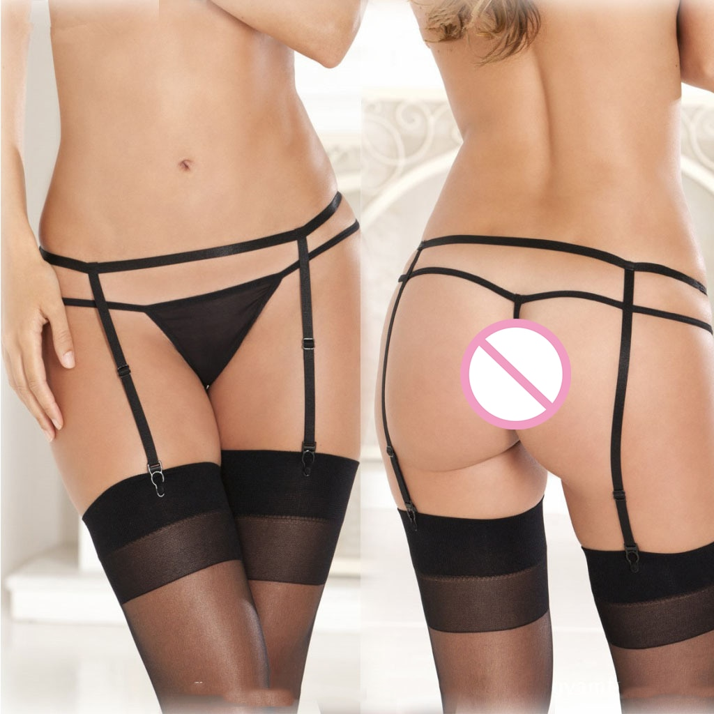 European and American hollowed-out lace mesh gauze ultra-thin perspective garter belt sexy stockings anti-slip size socks clip