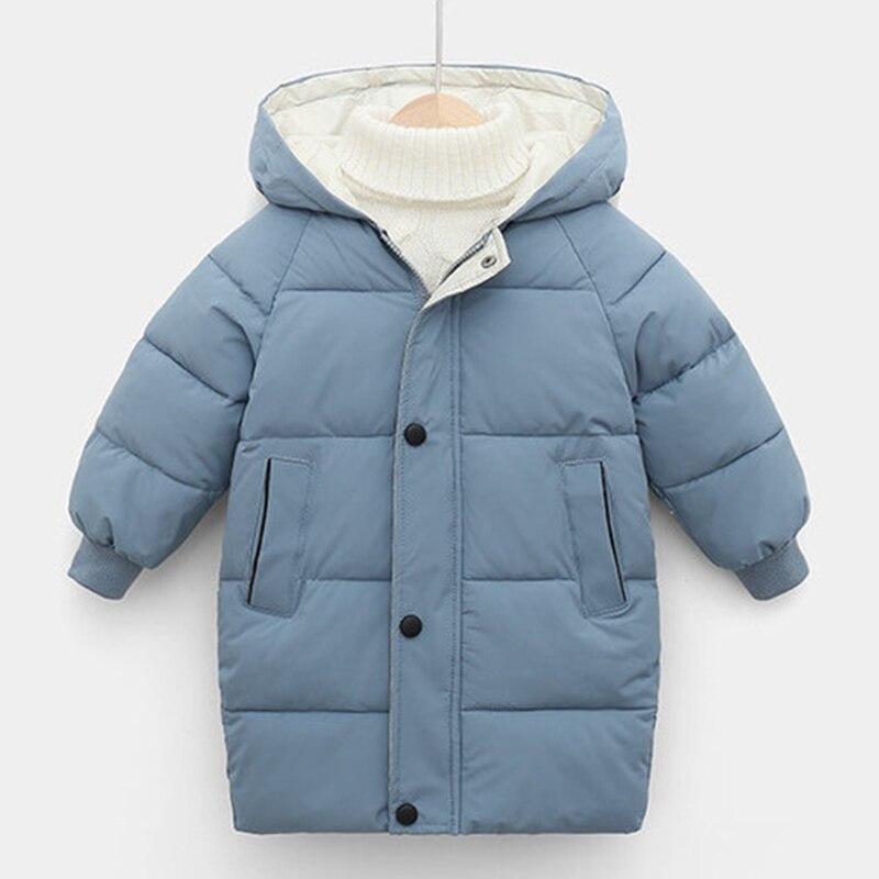Inverno crianças casacos crianças meninos jaquetas moda grosso longo casacos meninas casaco com capuz snowsuit 3-10y adolescente crianças parkas