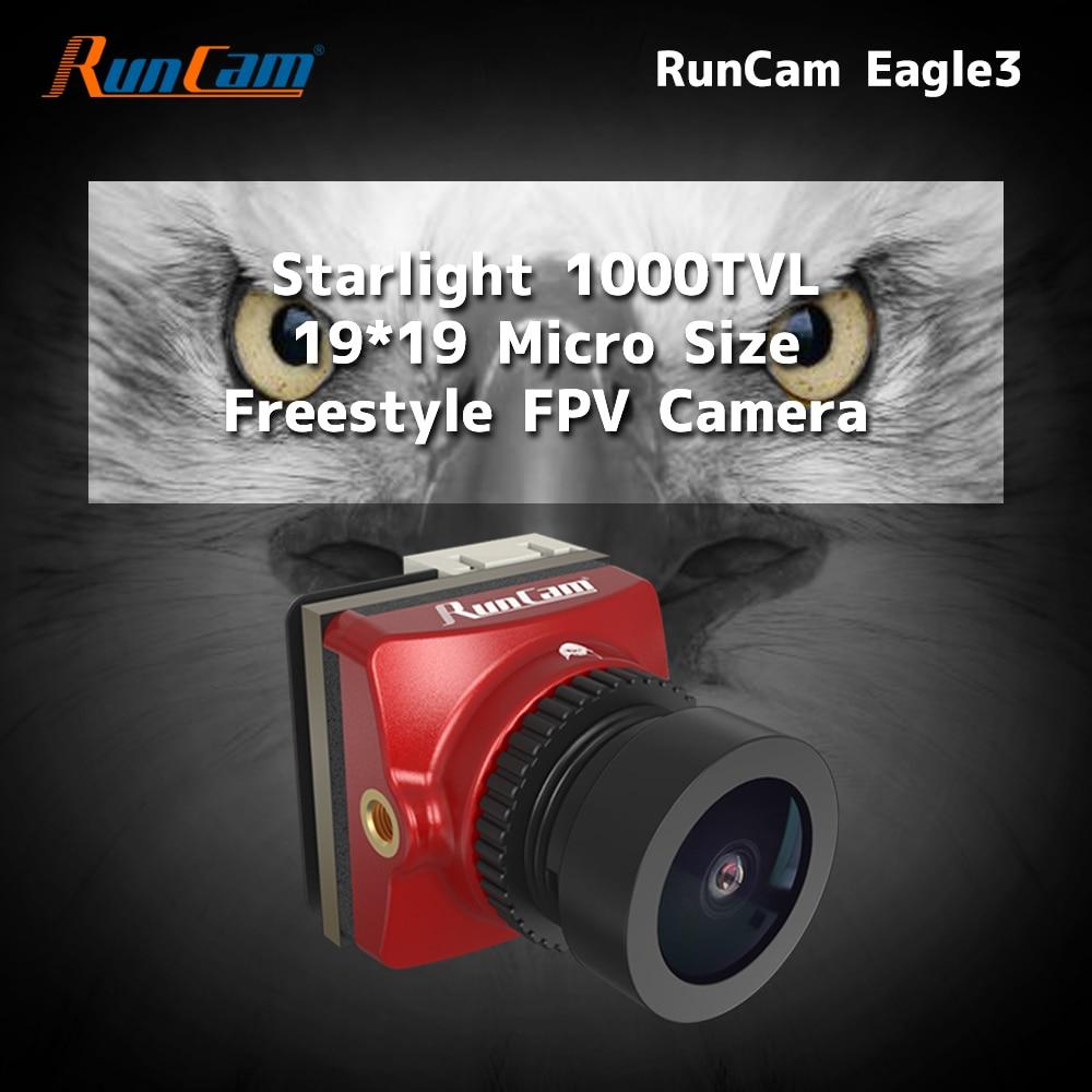 RunCam النسر 3 مايكرو FPV كاميرا مع 1000TVL 2.1 مللي متر فوف 155 ° عدسة ، النجوم CMOS 0.001Lux 4:3/16:9 للتحويل NTSC GWDR