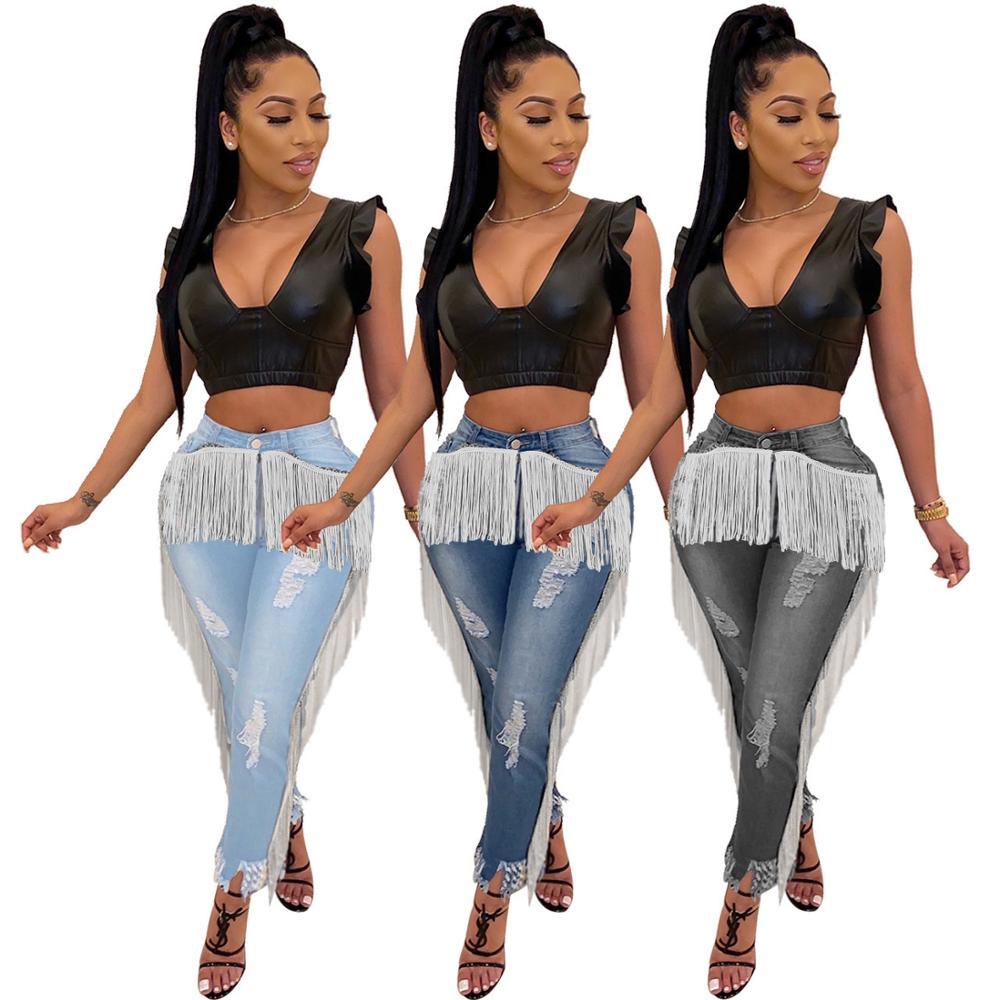 Женские Эластичные синие джинсы, привлекательные узкие джинсы с высокой талией и бахромой, модные рваные брюки, черные синие брюки-карандаш...
