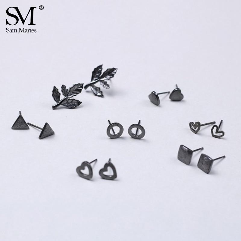 Small Cartoon Circle Heart Cactus Black Ear Studs Nonallergic Cute Leaf Piercing Earring Tiny Ear Jewelry for Women Girls Gift