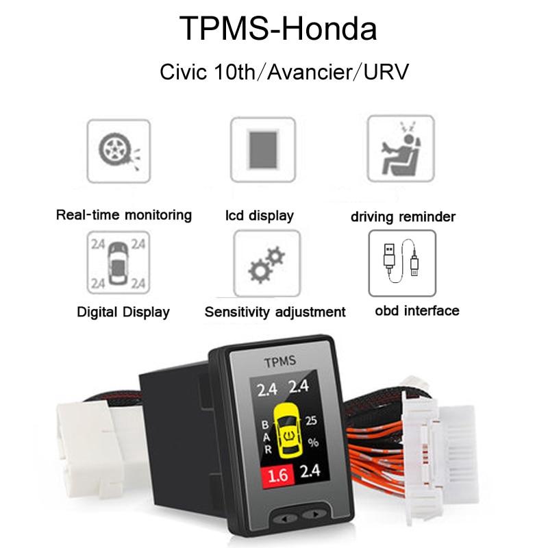 Автомобиль OBD TPMS lcd Система контроля давления в шинах в режиме реального времени для Honda Avancier URV CRV 10th Accord Civic