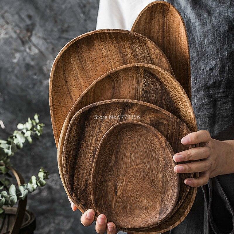 طبق حلوى خشبي غير منتظم ، تصميم إبداعي بسيط ، لوح خشبي إبداعي ، أطباق عشاء عالية الجودة