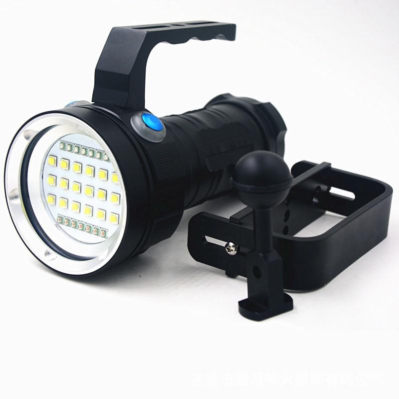 Buceo fotografía luz linterna cola CC carga buceo 100 metros sin baterías linterna led L2 luz roja luz azul