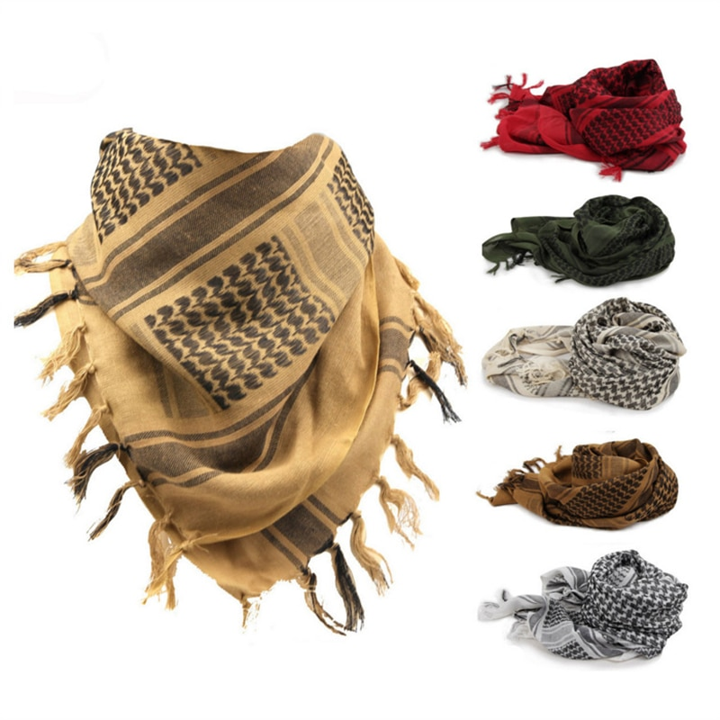 Outdoor Arab Square Scarf Shawl 100% Cotton Military Tactical Desert Scarves Camping Windproof Bandanas Man Woman Turban