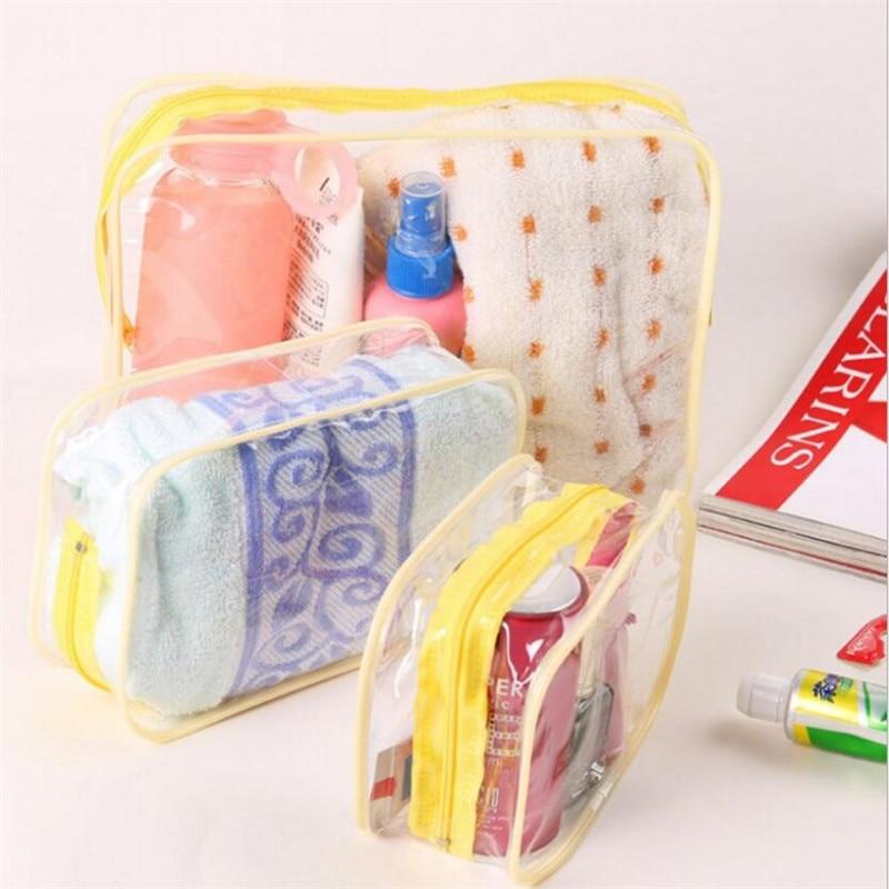 Waterproof Transparent PVC Bath Cosmetic Bag Women Make Up Case Travel Zipper Makeup Beauty Wash Org