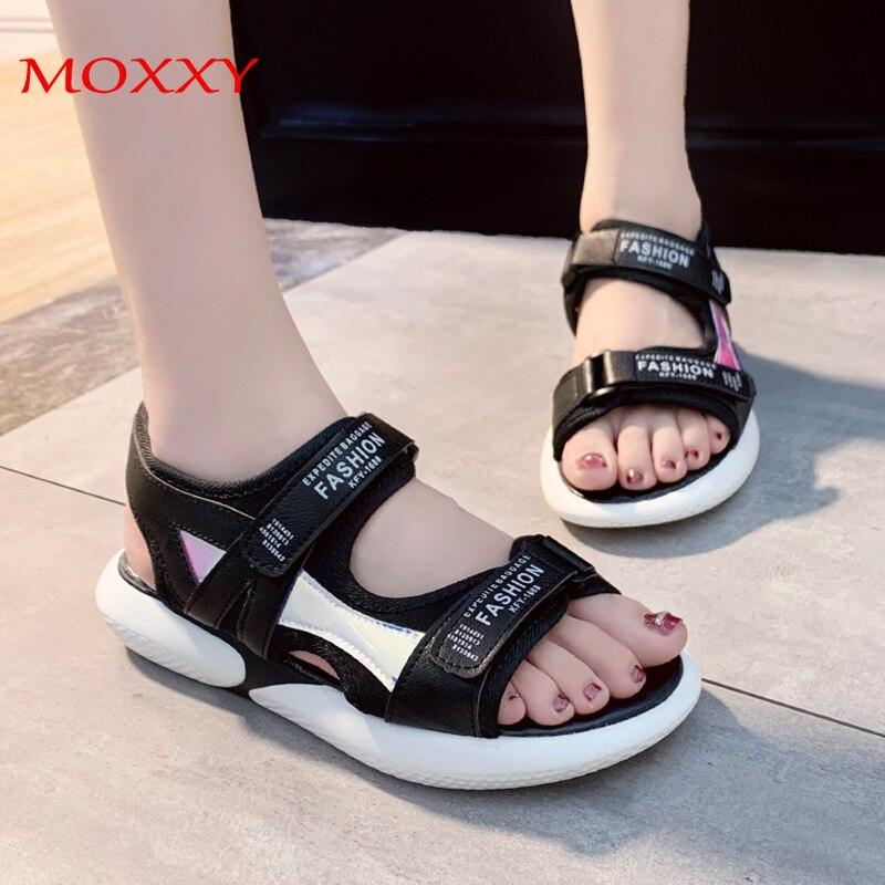 Sapatos de plataforma feminina sandálias moda 2020 senhoras verão sapatos planos preto branco rosa sandálias esportivas grossas para mulher