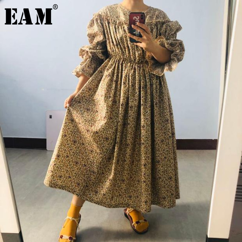 [EAM] Women Khaki Pattern Printed Big Size Long Dress New Round Neck Long Puff Sleeve Loose Fit Fashion Spring Summer 2020 1W685