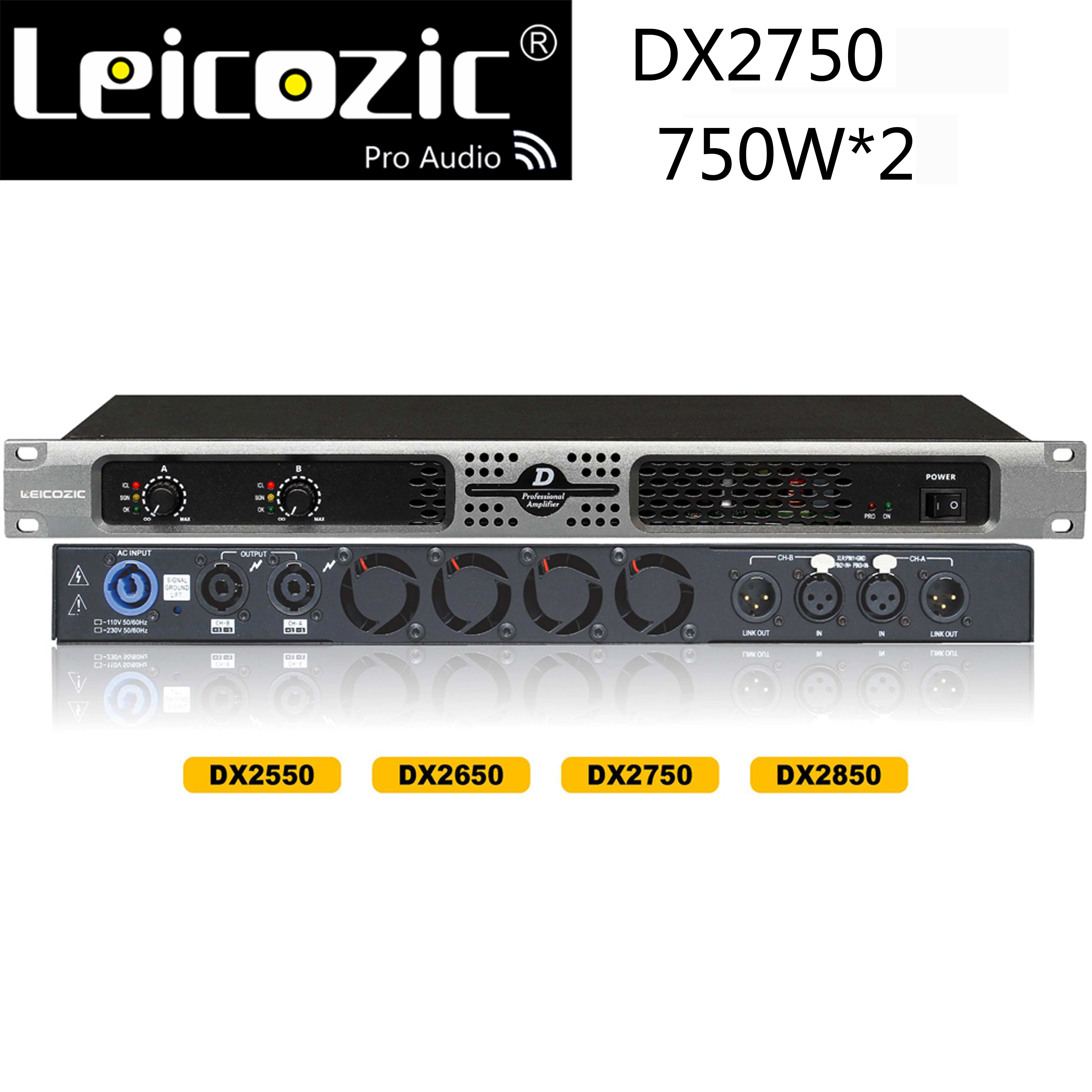 Leicozic-مضخم صوت احترافي من الفئة d ، 1200 واط ، 4 أوم ، DX2750 RMS