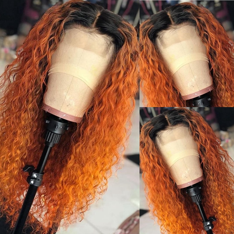 Orange Honey Blonde Ombre Color Curly Lace Front Human Hair Wigs Bleached Knots 180 Density