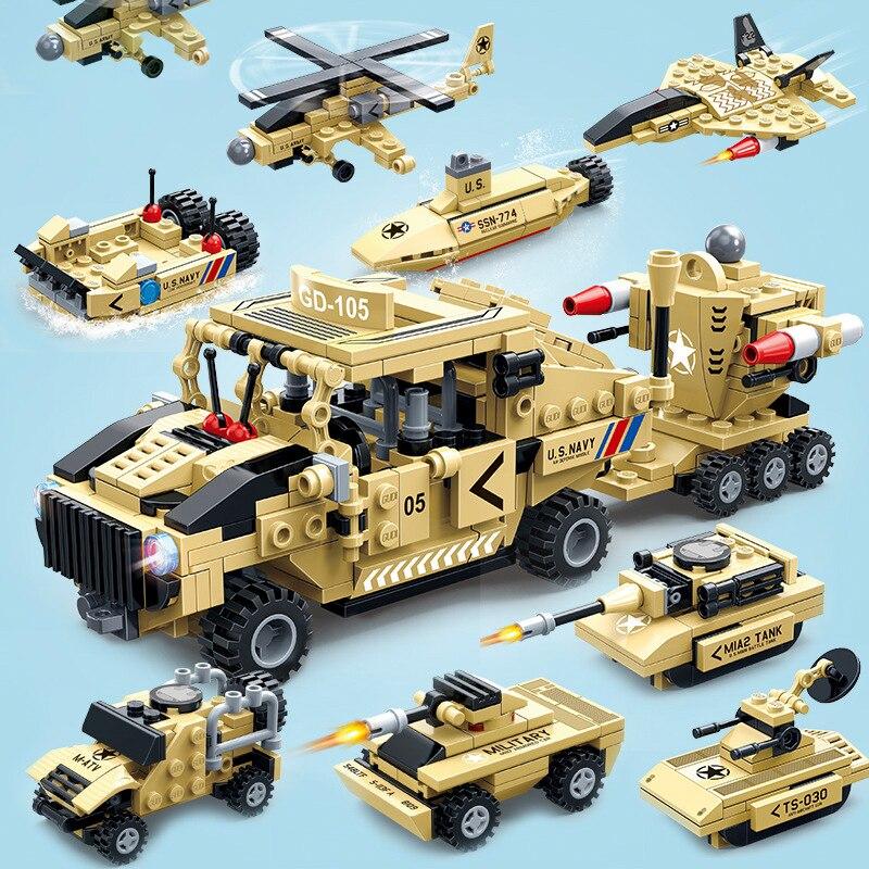 8 em 1 série militar anti-avião míssil modelo blocos de construção tanque carro figuras tijolos brinquedos educativos para crianças brinquedos