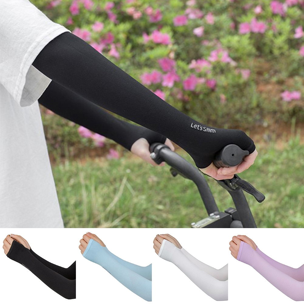 1 Pair Of Male And Female Ice Protection Arm Sleeves For Driving UV Protection Ice Silk Gloves Long Sunscreen Ice Silk Sleeves