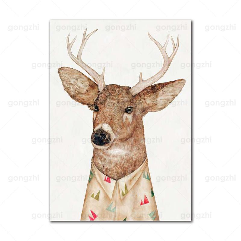 Abstract Humanoid Clothes Animal Elephant Zebra Elk Frameless Home Fashion Wall Painting HD Printed Poster  - buy with discount