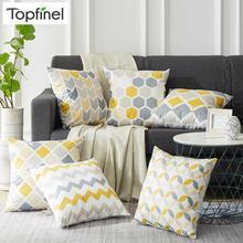 Topfinel, funda de cojín nórdico geométrico gris y amarillo, funda de cojín de microfibra, funda decorativa para sofá o cama