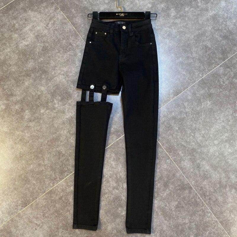 2021 Autumn New Arrivals High Waist Hollow Out Black Denim Long Pencil Pants Women Streetwear Jeans