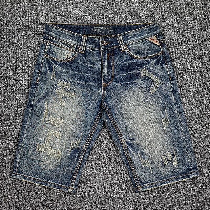 Джинсовые шорты мужские в американском уличном стиле, модные рваные джинсовые шорты в ретро стиле, винтажные дизайнерские короткие штаны, л...
