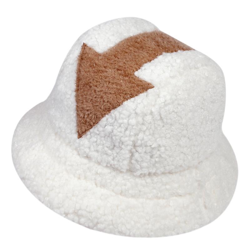 appa bucket hat Lamb wool hat winter warm Fishing Caps Faux Fur Arrow Symbol Printed Bucket Hat Men Women tide Flat Top Hats