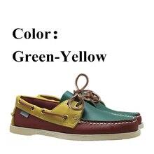 Zapatos de barco casuales Docksides de cuero genuino para hombres y mujeres, mocasines planos de diseñador de marca para hombre mujer verde amarillo rojo X126