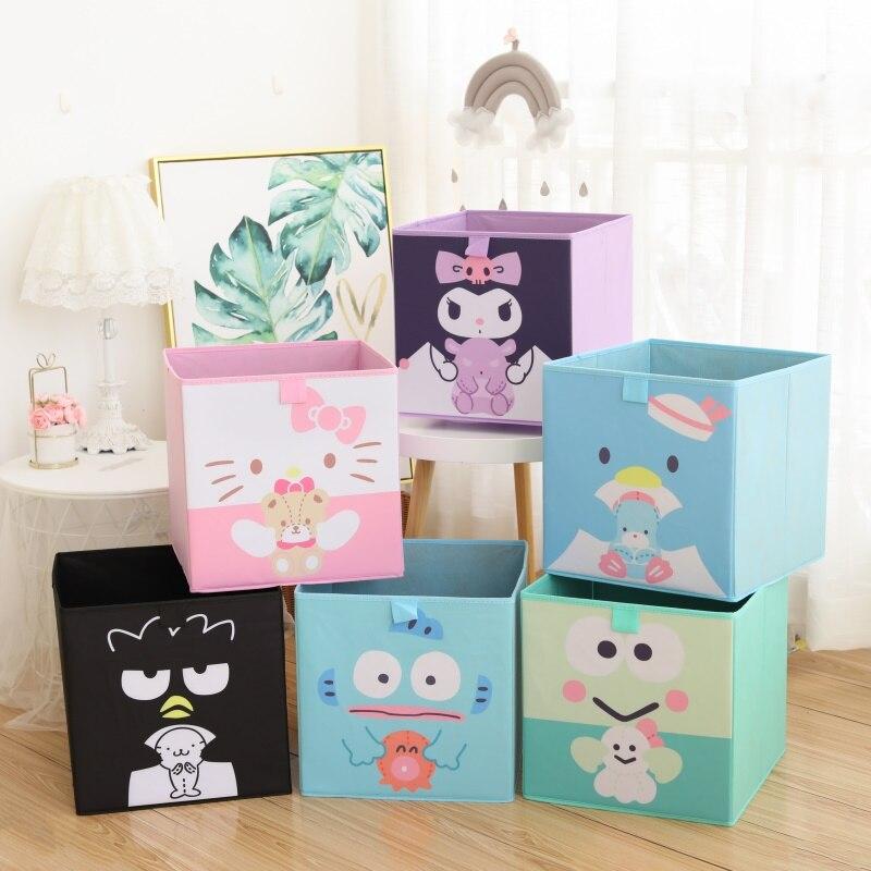 Cartoon storage box without lid, toy clothing organizer box, girl student desktop storage box