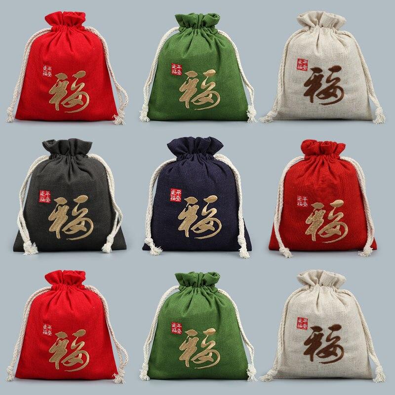 13*16 см вышитые китайские Подарки на удачу, сумки из хлопка и льна на шнурке, мешочки для ювелирных изделий, сувениры для вечеринки, упаковочн...
