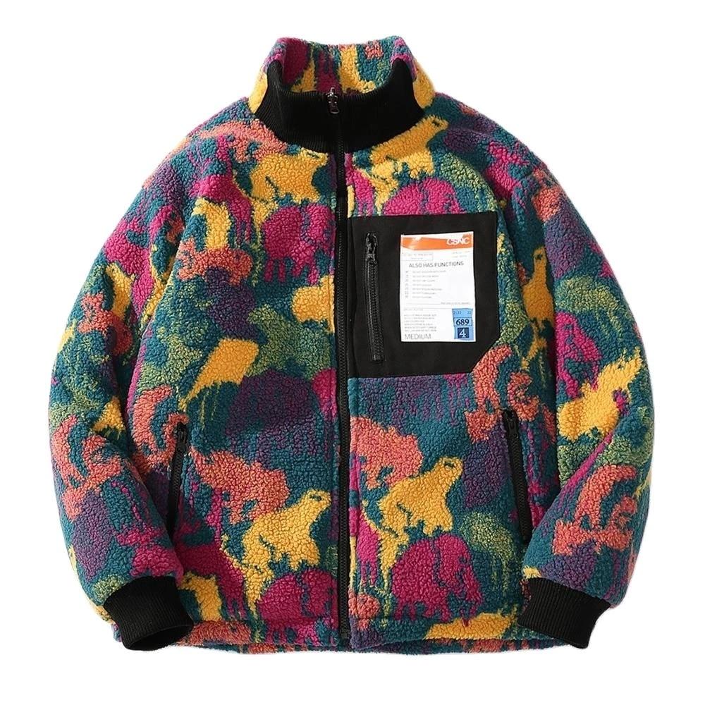 Hip Hop Camouflage Reversible Jacket Thick Parka Men  Padded Coats Harajuku Warm Two Side Windbreaker