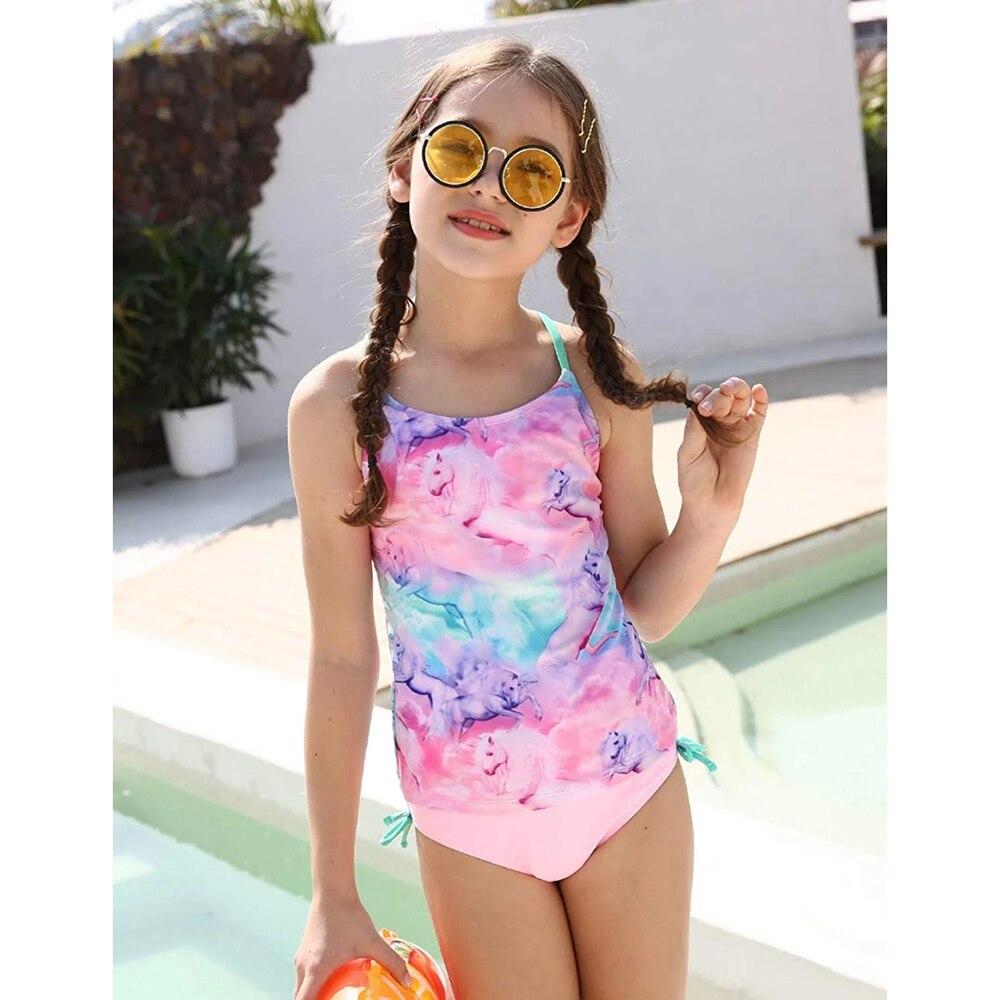 Bañador de dos piezas para niñas, Tankini, traje de baño para niñas, estampado de unicornio colorido, Tops de baño, conjunto de Bikini, trajes de baño