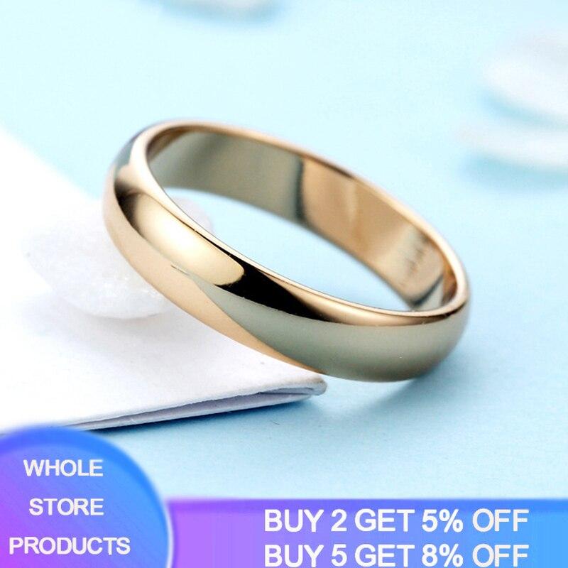 Yanhui moda simples 18k ouro masculino anel de casamento banda prata 925 jóias anel feminino venda quente casal jóias memorial presente