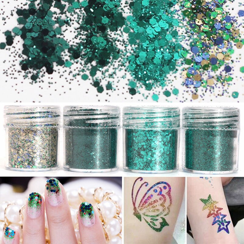 Купить с кэшбэком 1 Bag 50g Shiny Ultrathin Nail Sequins Colorful Nail Art Glitter Tips UV Gel 3D Decoration Manicure DIY Flake Hexagon Sequins