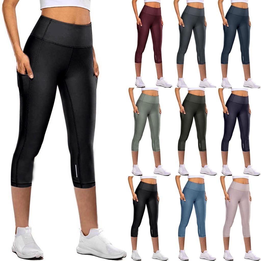 Pantalones de Yoga de secado rápido ajustado elástico para mujer, mallas reflectantes...