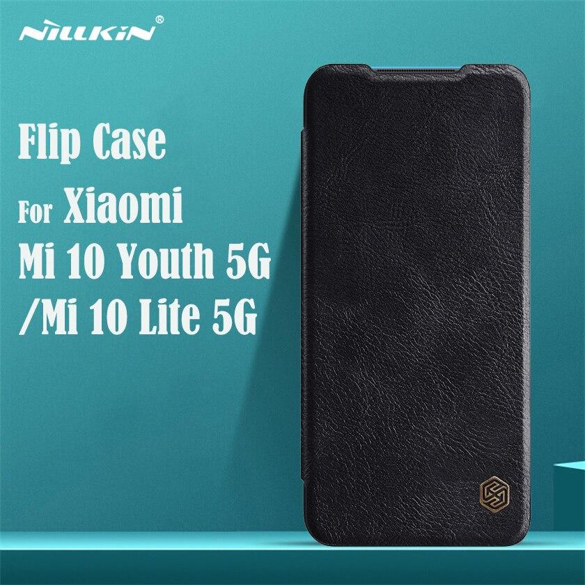 Para Xiaomi Mi 10 Youth 5G caso Nillkin Qin cuero cartera inteligente despertar de dormir de la cubierta del tirón PARA EL Xiaomi Mi 10 Lite 5G teléfono bolsa