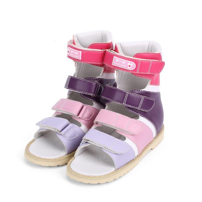 Ortoluckland Girls Shoes High Top Orthopedic Footwear Children Leather Sandals Kids Platform Flatfeet Shoes With Rigid Backdrop enlarge