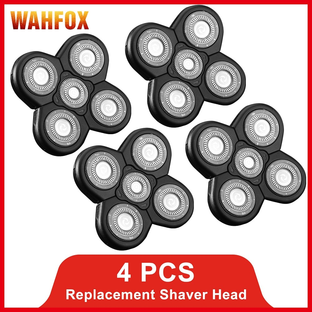 FOXSONIC 4 PCS Replacement Shaver Head Electric Shaver 5D Independently 5 Cutter Floating Head Stainless Steel Razor Blade