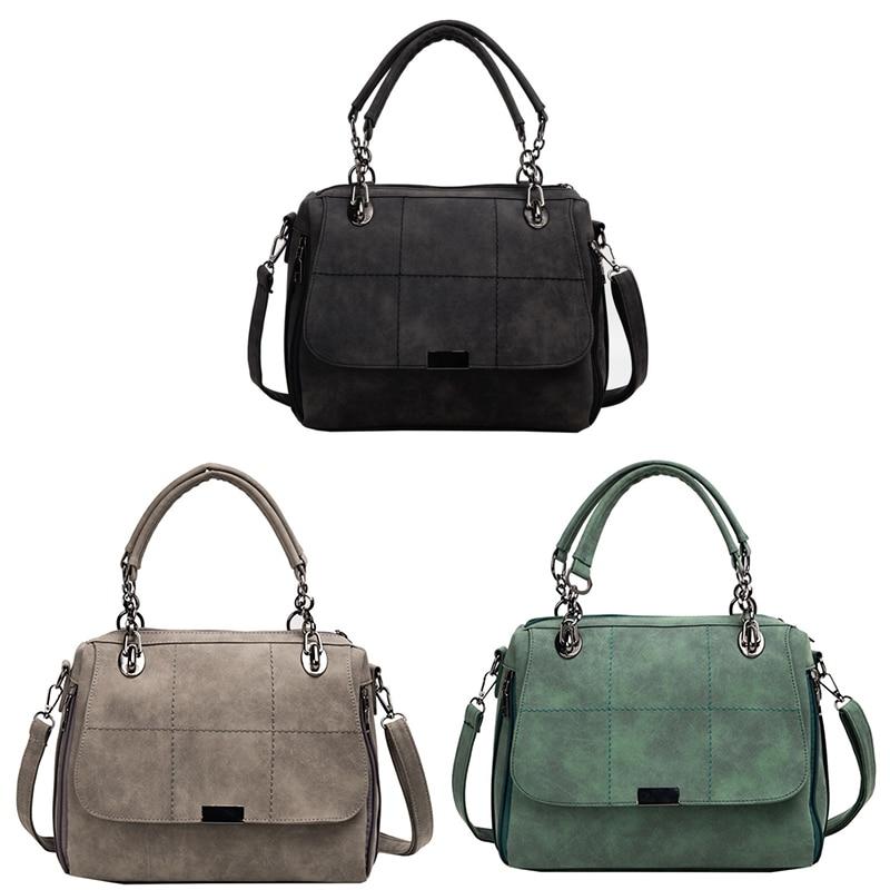 Matte Women Handbag Scrub Female Shoulder Bags Large Capacity Matcha Green PU Leather Lady Totes Boston Bag