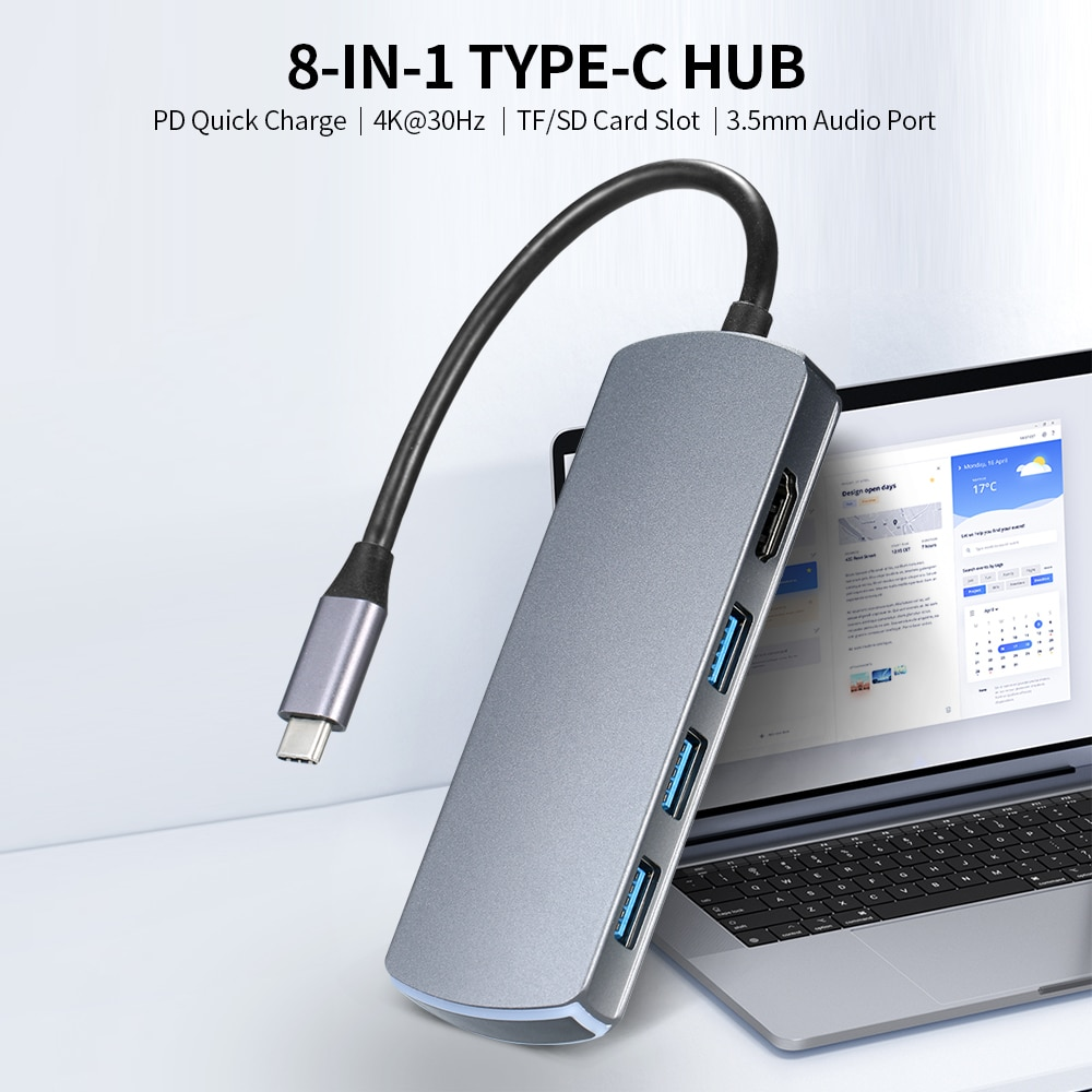 Type-C 8-in-1 Hub Type-C إلى HD محول 4K @ 30Hz/USB3.0/87 واط PD شحن سريع/TF & قارئ البطاقات SD/OTG وظيفة/3.5 مللي متر إخراج الصوت رمادي