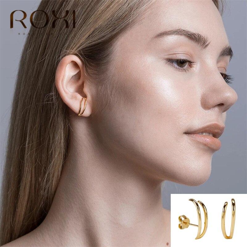 Roxi 2020 chegadas 925 prata esterlina jóias moda simples geométrica brincos para mulheres oorbellen brincos coreano brinco