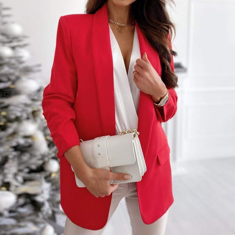 Новинка, осенние женские блейзеры для офиса, повседневный однотонный официальный деловой костюм с длинным рукавом, модные женские куртки, п...