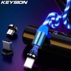 Магнитный светящийся светодиодный кабель KEYSION Micro USB Type C для Samsung, Xiaomi, зарядный провод для телефона iPhone, Магнитный зарядный шнур