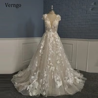 verngo stunning lace floral a line wedding dress champagne bride gowns with short cap sleeves backless 2021 bridal dresses